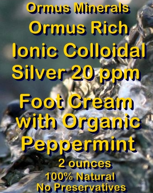 Ormus Minerals -Ormus Rich Ionic Colloidal Silver Foot Cream with Organic peppermint